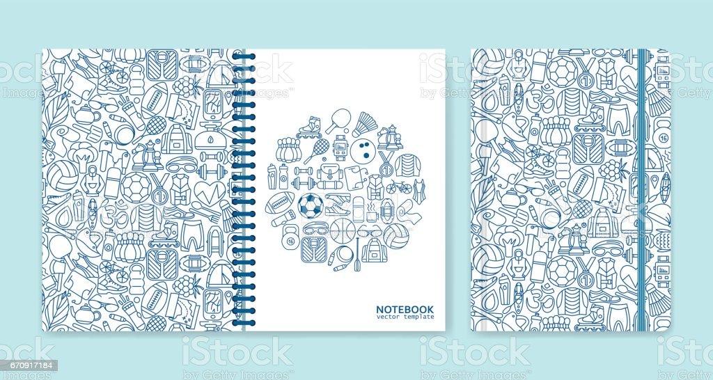 ノートやスクラップ ブック スポーツとレクリエーションの線アイコンのデザインをカバーします。ベクトルの図。 ベクターアートイラスト