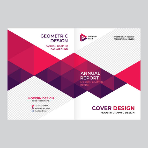 Cover design for presentations and advertising, creative layout of booklet cover, catalog, flyer, fashionable background for text and photo EPS 10 triangle shape stock illustrations