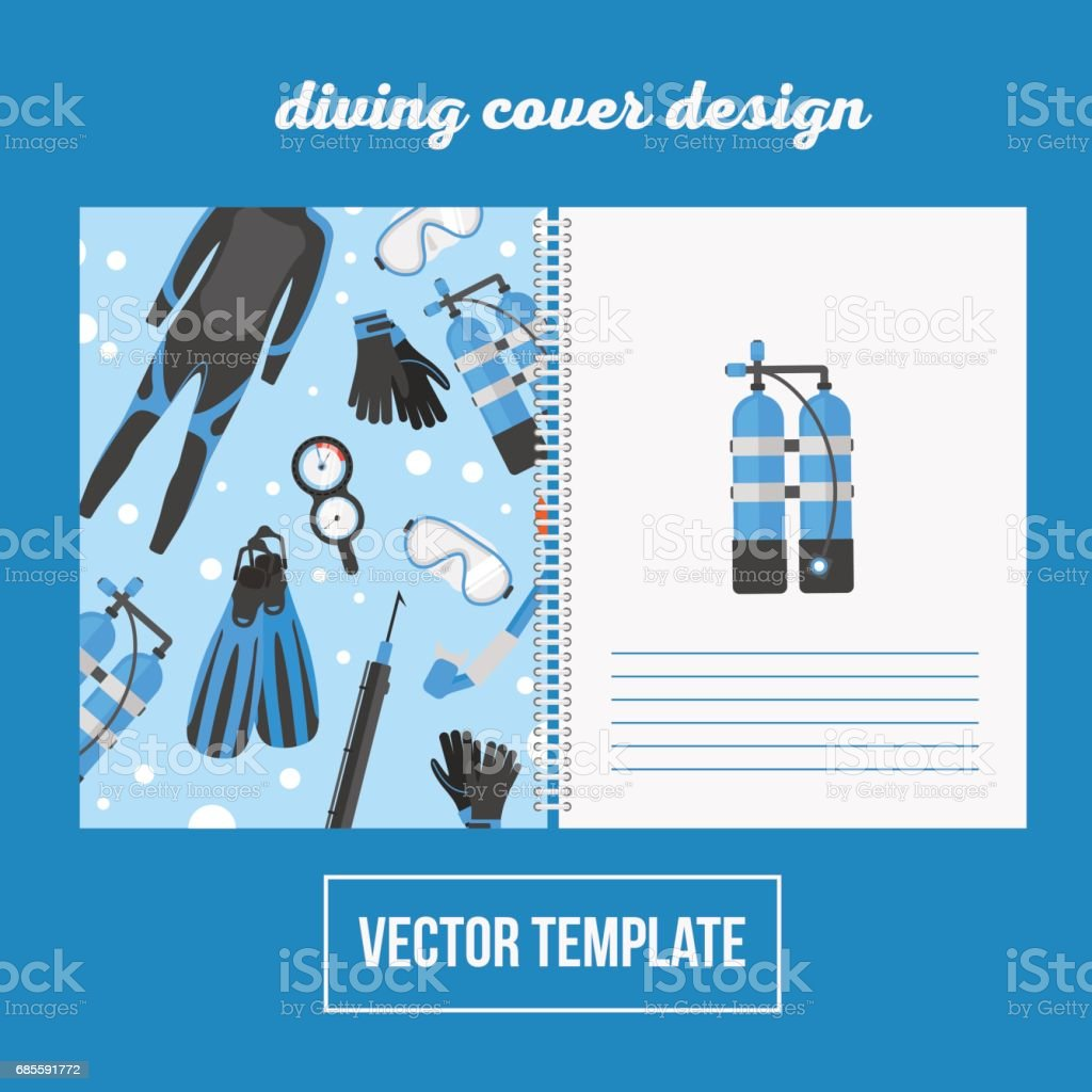 Cover design for print with diving equipment 免版稅 cover design for print with diving equipment 向量插圖及更多 人 圖片