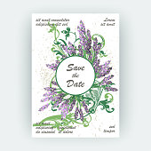 Cover design lavender floral pattern. Hand drawn creative flower. Elegant trendy artistic background blossom greenery branche. Graphic illustration wedding, invitation, poster, greeting card, cover book, catalog vector