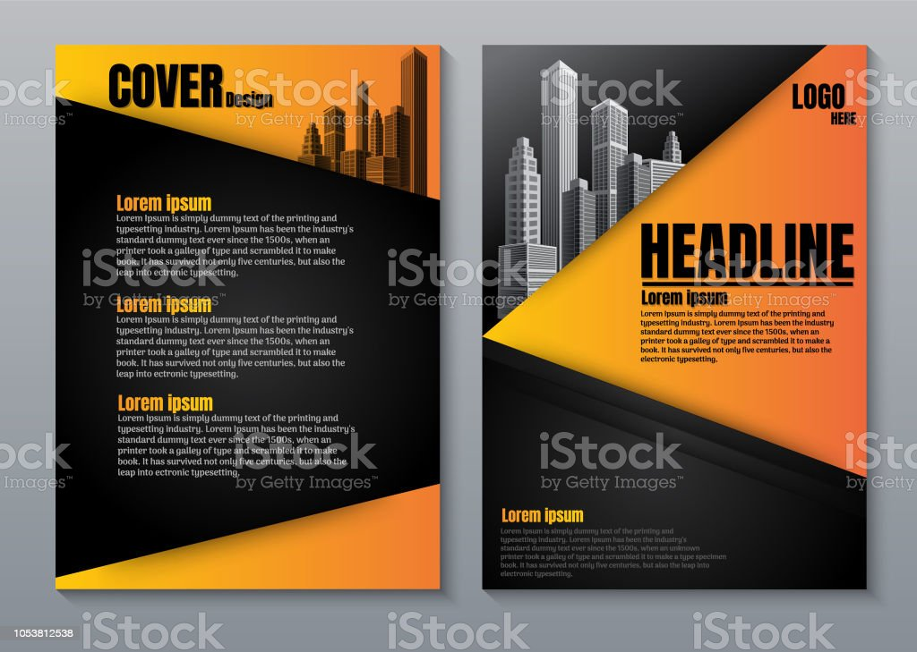 Cover Design Orange yellow Color Scheme with City Background Business Template. Can be adapt to Brochure. Annual Report Magazine Poster Corporate Presentation Portfolio Banner Website. vector art illustration