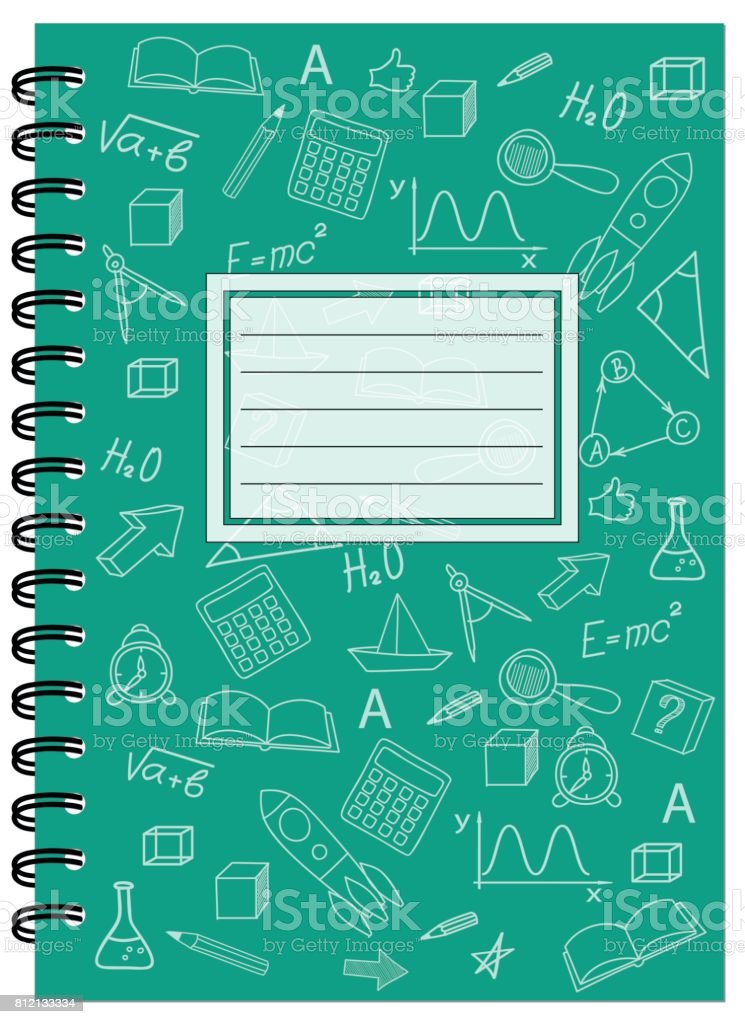 A5 cover design school notebook with spiral vector art illustration