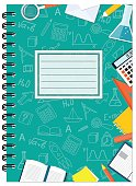 Cover design with education stationery, icons and hand drawn symbols for school tutorial cover, notebook, sketchbook, album, copybook. Cover A5 notebook template with spiral and empty space. EPS 10.