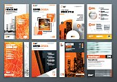 Cover design set. Orange Corporate business template for brochure, report, catalog, magazine, book, booklet. Layout with modern elements and abstract background. Creative vector concept