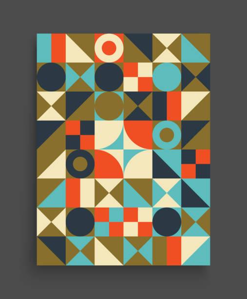 design-vorlage für die werbung zu decken. abstrakten bunten geometrischen design. muster kann als vorlage für die broschüre, geschäftsbericht, magazin, plakat, präsentation, flyer und banner verwendet werden. - bauhaus stock-grafiken, -clipart, -cartoons und -symbole
