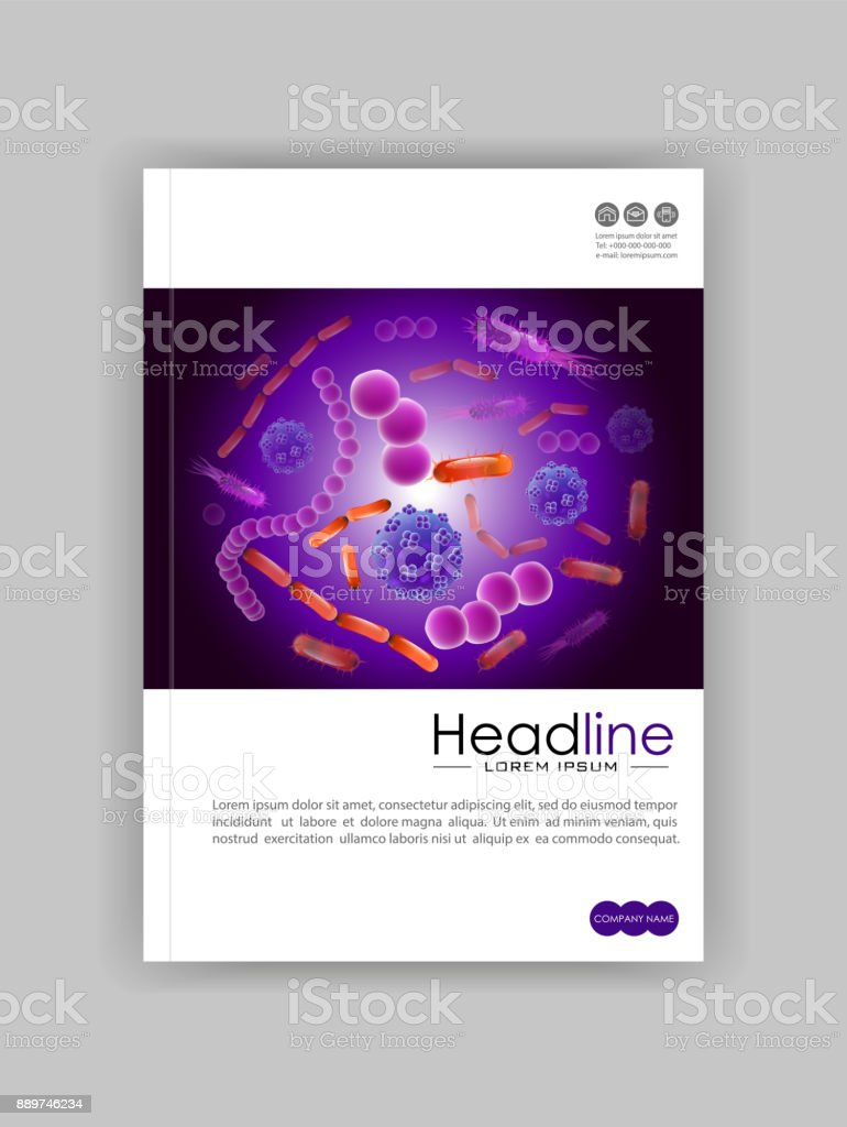 Cover design template in A4. Bacteria virus soup background on a dark background. Good for banners, covers, books, journals, conference, magazines, flyers. vector art illustration
