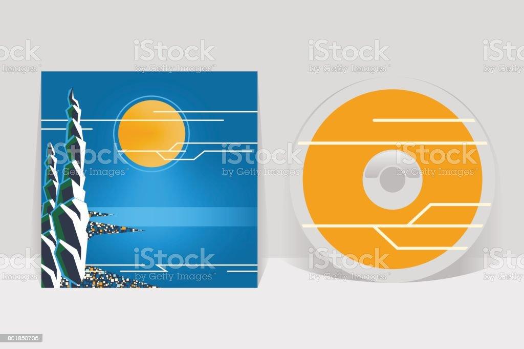 CD cover design template. Night coastal city illustration. Moon shining over sea shore and cypress trees vector art illustration