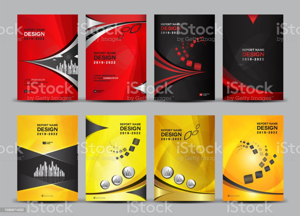 cover design template set annual report book booklet business vector