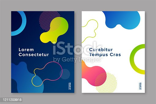 Cover design template with abstract fluid gradient graphics