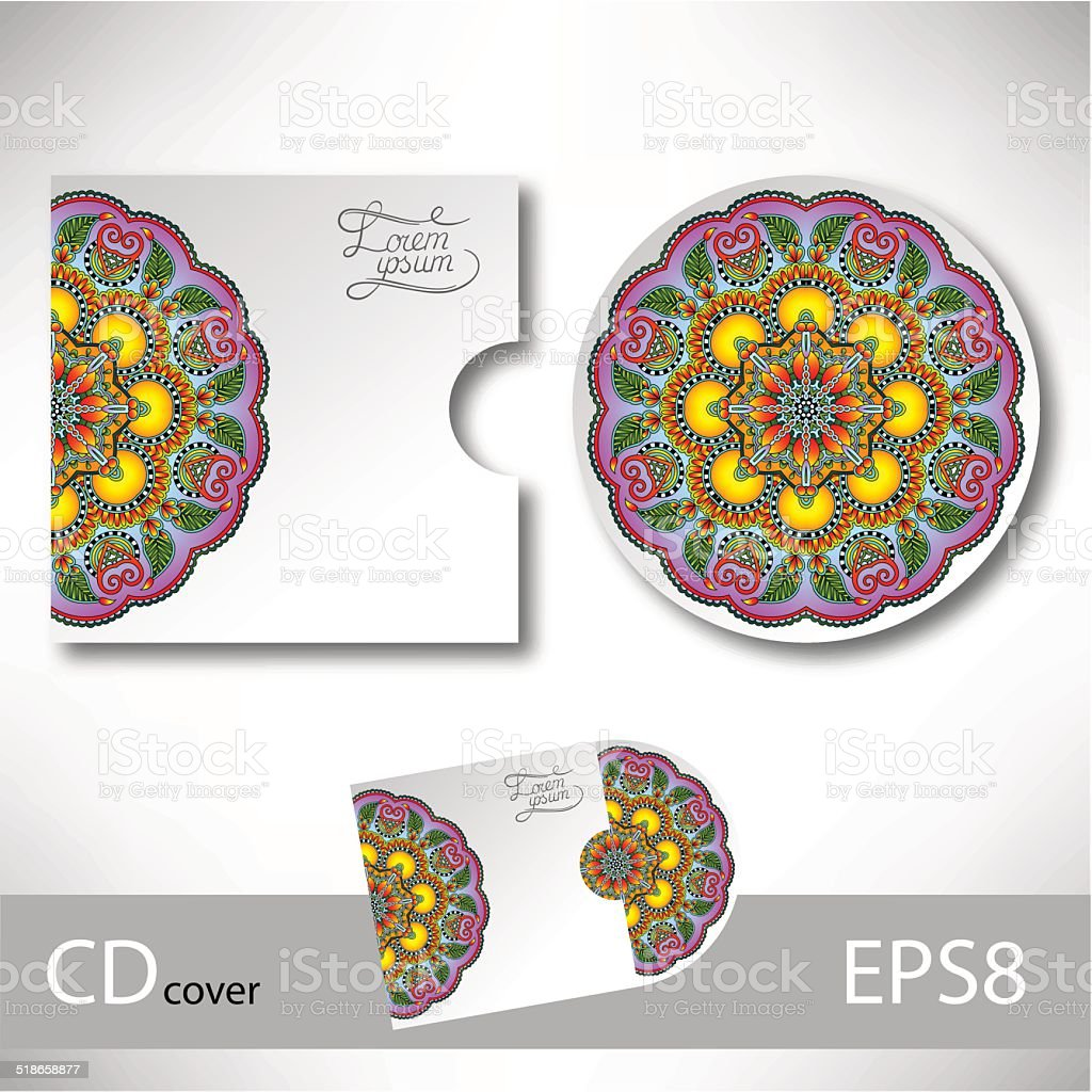 cd カバーのデザインテンプレートウクライナエスニックスタイルの装飾