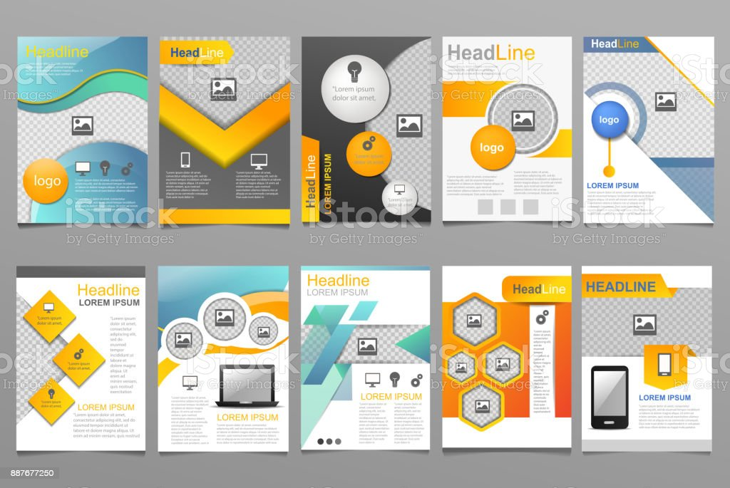 Cover design vector annual report template of brochure for business presentation covering reporting annualy illustration set isolated on white background