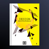Abstract geometric composition with creative figure. Banner design. Brochure title sheet background vector illustration. Cover design