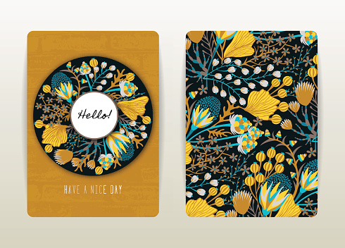 Cover design with floral pattern. Hand drawn creative flowers. Colorful artistic background with blossom