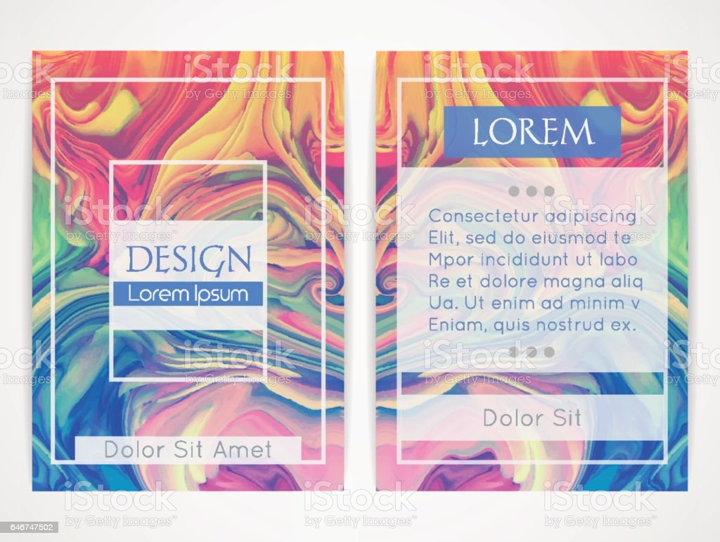 Cover design with marbling. Marble texture. Paint splash. Colorful fluid vector art illustration