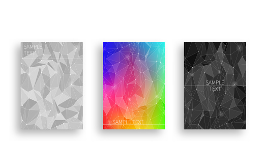 Cover design with polygon-like abstracts with light.