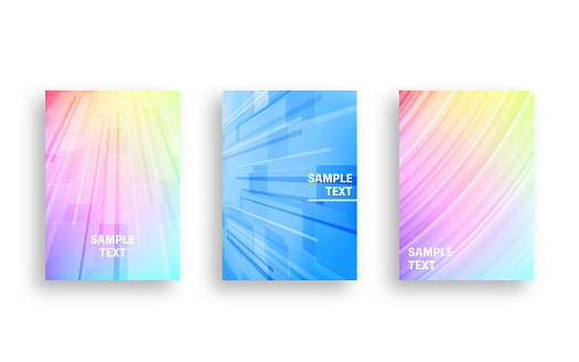 Cover design with running line style abstracts