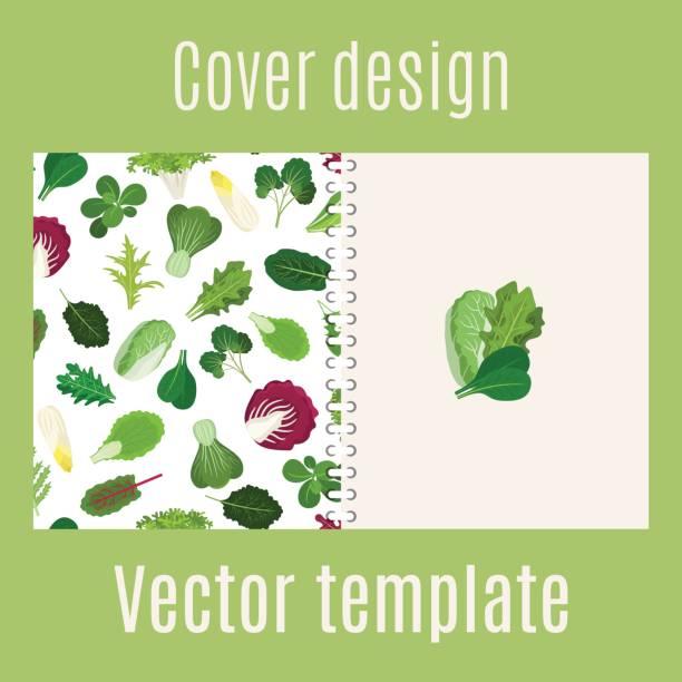 cover-design mit salat-blätter-muster - salatbar stock-grafiken, -clipart, -cartoons und -symbole