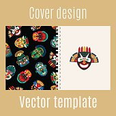 Cover design with tribal mask pattern