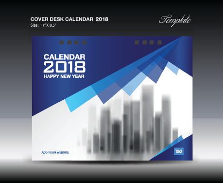 cover desk calendar 2018 year template horizontal paper. Black Bedroom Furniture Sets. Home Design Ideas