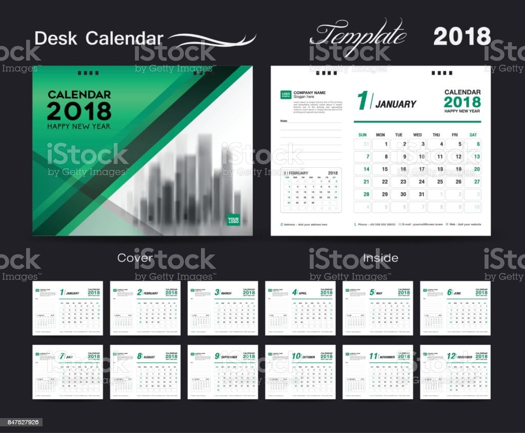 Horizontal Calendar Design : Cover desk calendar year template horizontal paper