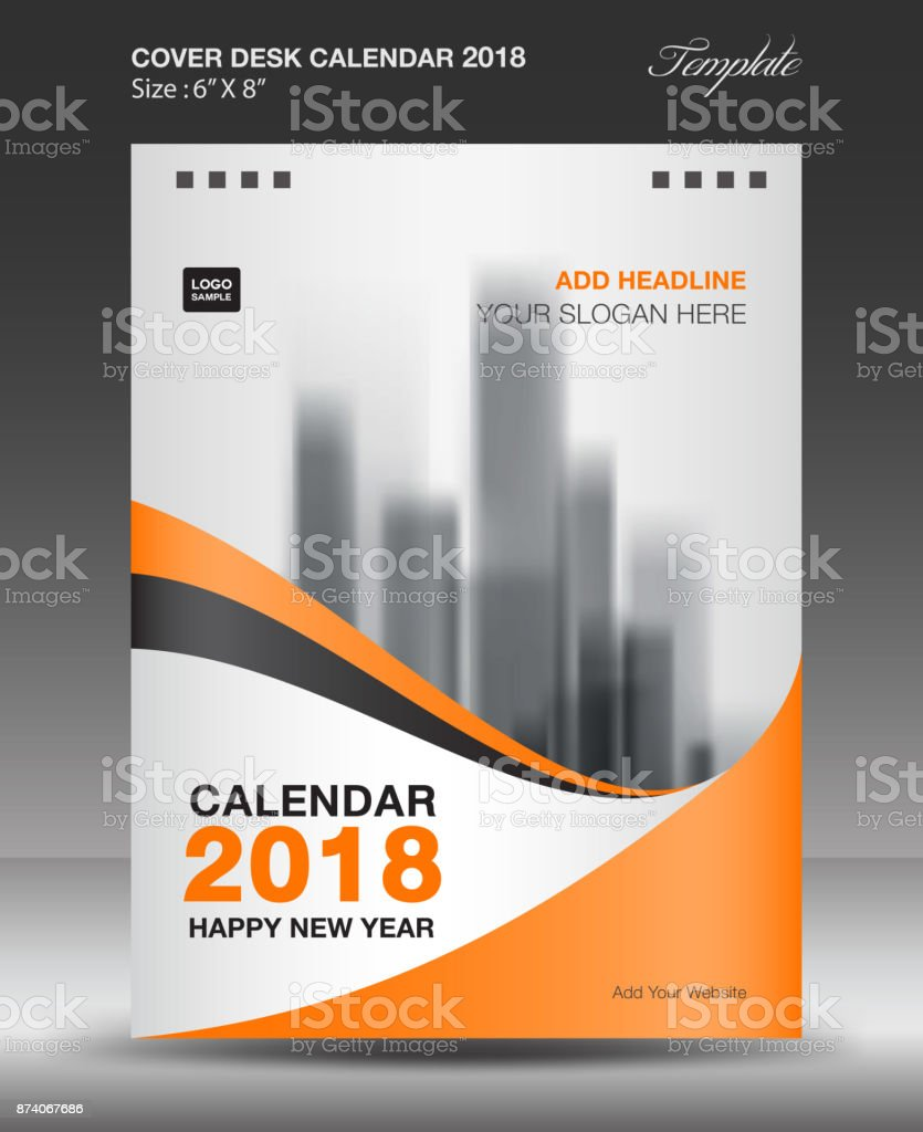 Abdeckung Schreibtisch Kalender 2018 Jahr Vorlage Vertikale Papier ...