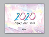 Cover Desk Calendar for 2020 template vector, 8 x 6 inch size, book cover design, brochure, flyer, pastel watercolor painting background