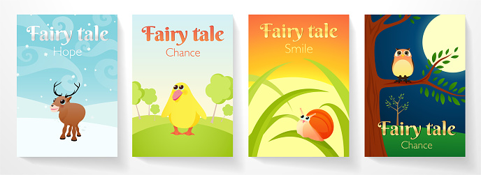 Cover for fairy tale book. Illustration with funny animals: elk on snow, duckling in meadow, little snail on blade of grass, owl in night forest