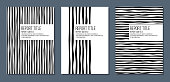 cover for report brochure flyer with black and white curved stripes