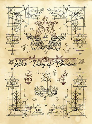 Cover for Witch diary of shadows with sacred geometry and esoteric symbols and signs
