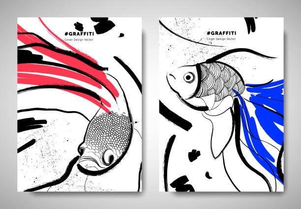 decken / einladung vorlage kartendesign, abstrakte hand gezeichnete pinsel malerei kämpfende fische, goldfische und kunst elemente, schwarz, rot und blau töne - graffiti schriftarten stock-grafiken, -clipart, -cartoons und -symbole
