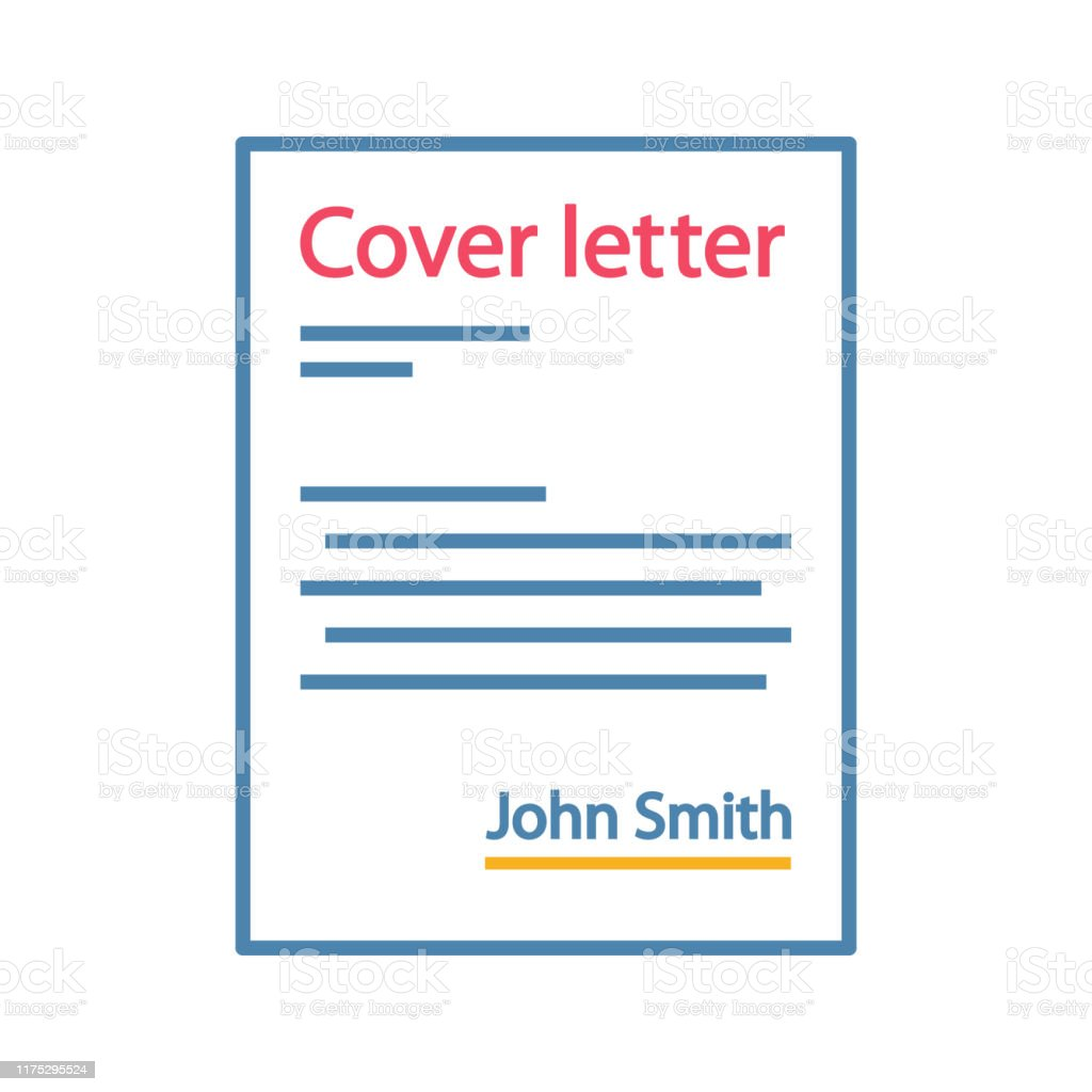 Cover letter color icon. Job application. Introduction letter....