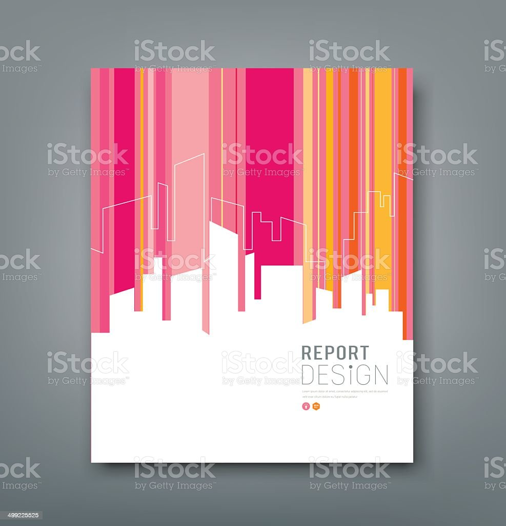 Cover Magazine Silhouette building colorful background vector art illustration