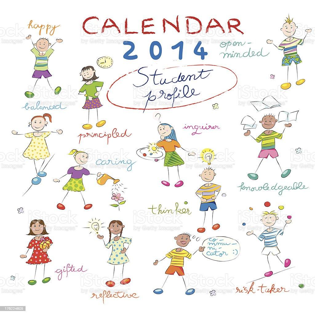 Cover of 2014 calendar royalty-free stock vector art
