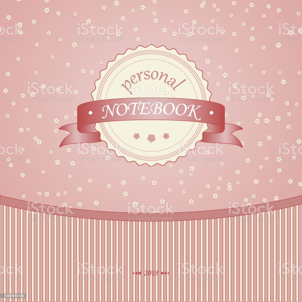 Cover Of The Diary Notebook Vintage Pink Flowers Stripes And Ribbon