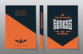 Cover of the training diary. A4 Brochure design template, vector. Flyers report. Magazine poster with motivational slogans. Fitness - original lettering.