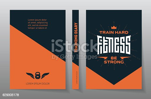 Cover of the training diary. A4 Brochure design template, vector