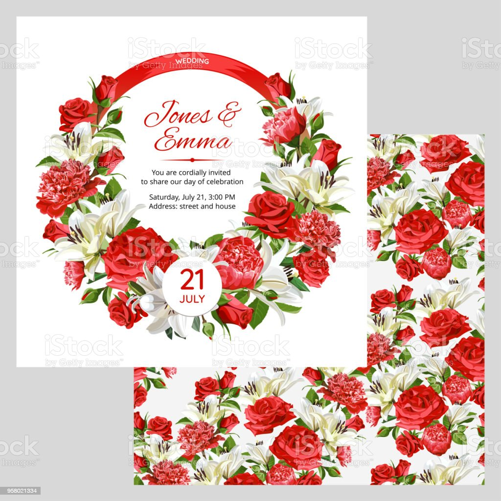 Cover Of Wedding Invitation And Seamless Pattern Red Roses Peonies ...