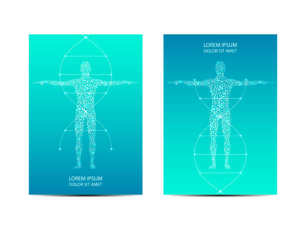 Cover or poster design with human body, scientific and technological concept, vector illustration vector art illustration