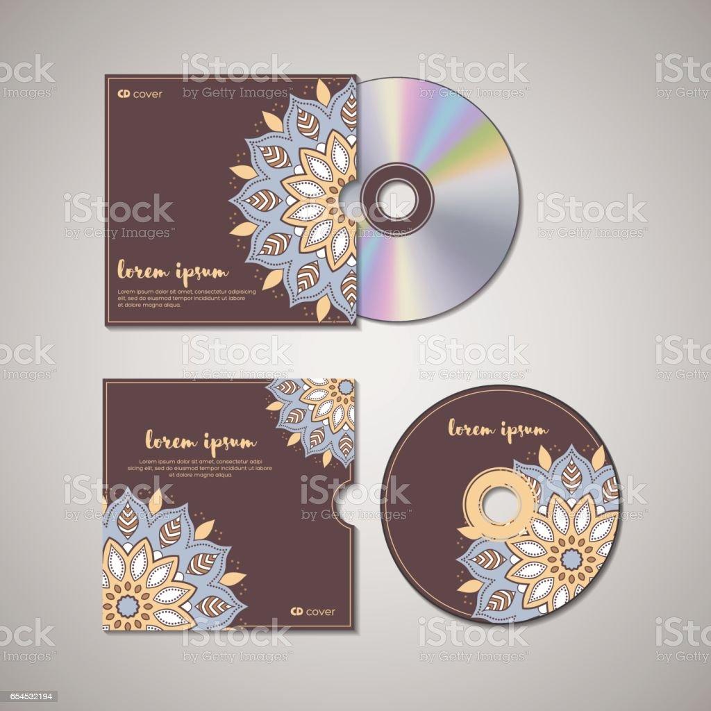 CD cover oriental template. vector art illustration