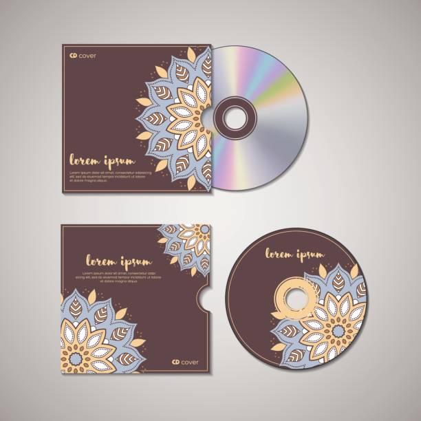 ilustrações, clipart, desenhos animados e ícones de modelo oriental de capa de cd. - cd