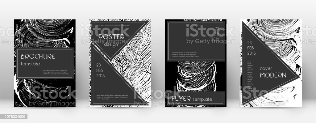 Cover page design template. Black brochure layout. vector art illustration