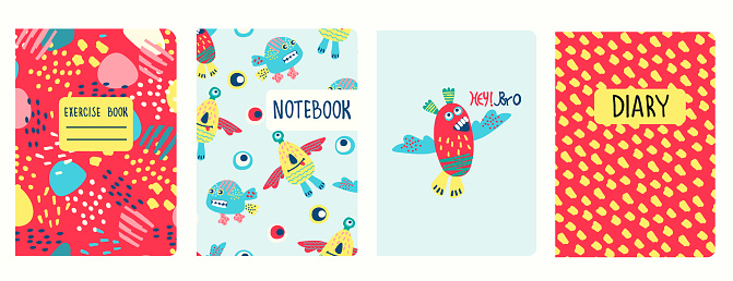 Cover page templates based on patterns with funny monsters and fantasy shapes. For school notebooks, diaries, albums