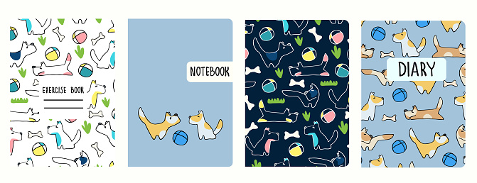 Cover page templates based on seamless patterns with doggies. Perfect for school notebooks, kids diaries