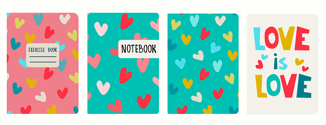 Cover page templates based on seamless patterns with hearts, lettering. Love concept. Background for notebooks, diaries