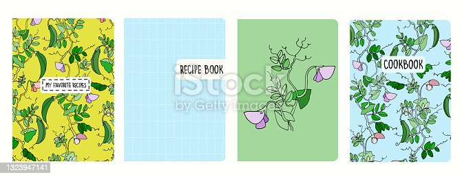 Cover page templates for recipe books based on patterns with pea plant and grid. Headers isolated and replaceable
