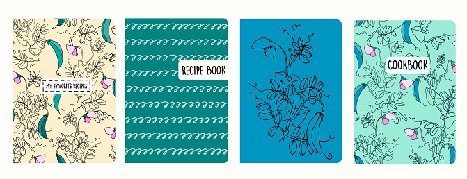 Cover page templates for recipe books based on patterns with pea plant. Headers isolated and replaceable