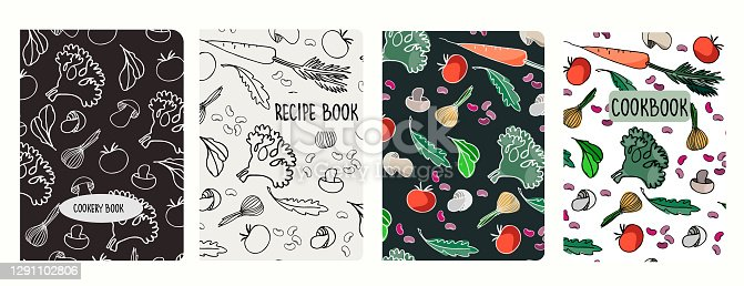 Cover page templates for recipe books based on seamless patterns with vegetables
