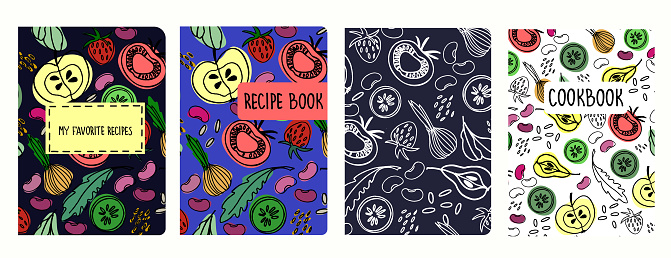 Cover page templates for recipe books based on seamless patterns with fruit and vegetables
