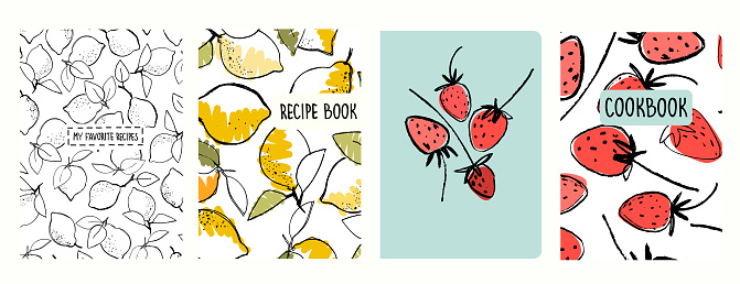 Cover page templates for recipe books based on seamless patterns with lemons and strawberries