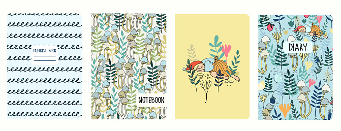 Cover page templates with funny female gnome, fairy tale elf girl sleeping in the forest. Headers isolated, replaceable